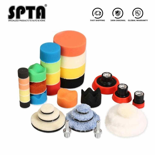 SPTA 29pcs 1/2/3inch Waxing Sponge Polishing Pad Woolen Pads Backing Plate Car Polishing Tool System for DA/RO Polishing Machine