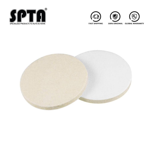 SPTA 3/5/6/7inch Wool Wheel Polishing Disc Sanding Wool Flock Pad Grinding Buffing Wool Felt Wheel Glass Flocking Polisher Pad