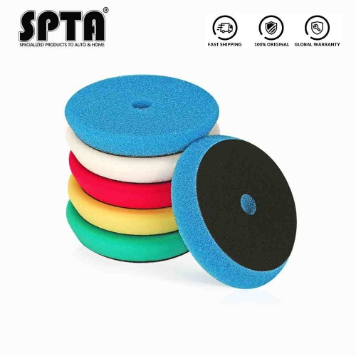 SPTA 6inch (150mm) 5 Pad Mix Color Light Cut,And Finish Buffing Polishing Pads Kit Set For RO/DA Car Polisher Dual action Polisher Pack of 5Pcs (T fla