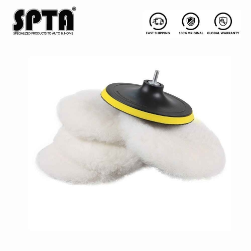 "SPTA Polisher/Buffer Soft Wool Bonnet & Pad With Hook & Loop And 5/8""-11 Drill Adapter For Car Polisher Polishing/Buffing"