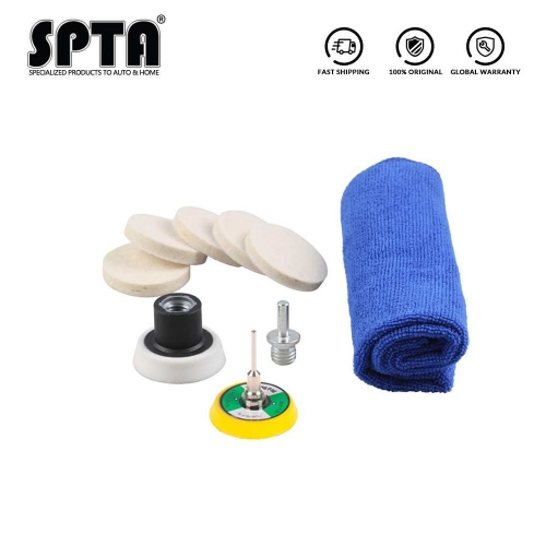 "SPTA 2""(50mm) Felt Buff Polishing Pad,Microfibre Towel with 5/8""-11 Thread Drill Adapter For Car Window Polishing"