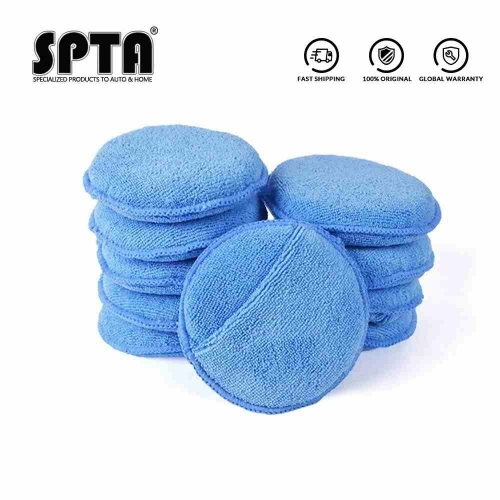 "SPTA 5"" 125mm Car Microfiber Wax Applicator Pads with pocket Car Washing Cleaning For Car Waxing Polishing Pack of 10Pcs"