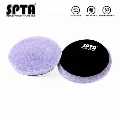 SPTA 5Inch & 6 Inch Lambs Woollen Polishing Buffing Pad Polisher Pads For Car Detailing Waxing Polishing Buffer