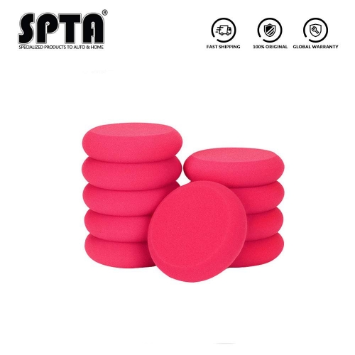 SPTA 10Pcs UFO-Shape Red Applicator Wax and Dressing Pads Buffing Pads for Car Polishing & Cleaning
