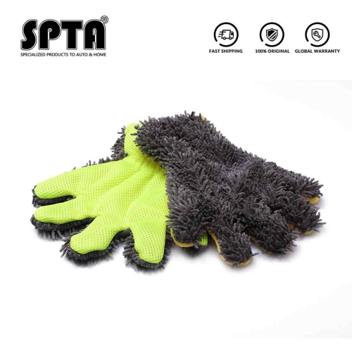 SPTA 5 Finger Car Washing Gloves Soft Multifunction Double-sided Car Cleaning Brush Car Wash Car Cleaning Gloves Coral Mitt Car
