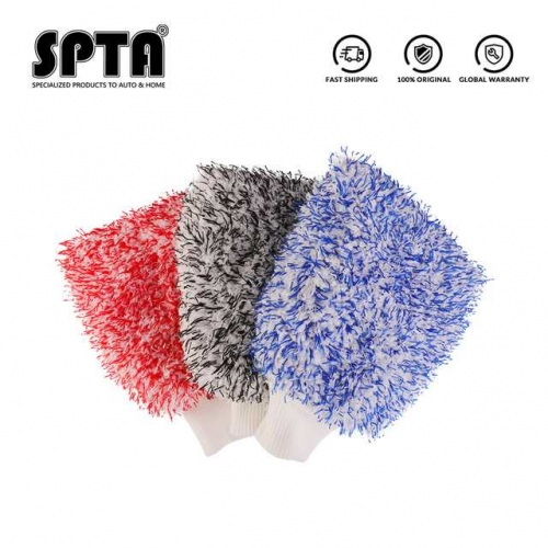 SPTA Soft Absorbancy Glove New Style Microfiber Car Washing Gloves Doubleside Colored Velvet Glove