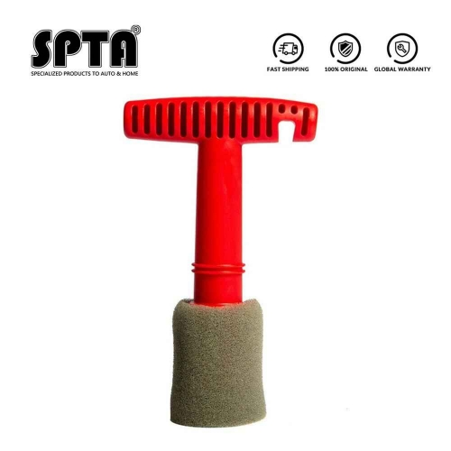 SPTA Lug Nut Wheel Cleaning Brush With Handle and Removable Insert Steel Ring Screw Cleaning Brush