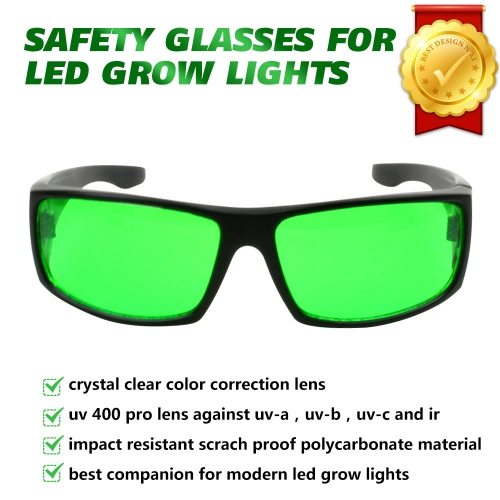 Fit Wear Cover Over Prescription Glasses Wearer Indoor Growing Hydroponics LED Grow Light Room Glasses for Intense LED lighting Visual Eye Protection