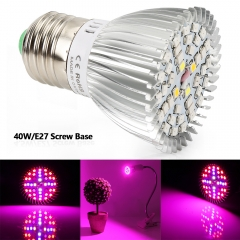 40W Full Spectrum Led Grow Light for Indoor Plants Vegetables Greenhouse and Hydroponic,40PCs SMD5730 Chips E27 Base grow light