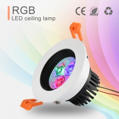 5W RGB LED Ceiling Light Dimmable, Color Changing Recessed Light with Remote Control for Home Stage Party Decor.