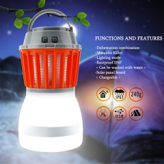 Camping Lantern Tent Light Mosquito Killer - Portable IP67 Waterproof Travel Light with 2000mAh Rechargeable Battery