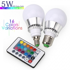 5W RGB LED Light Bulb With Timing Infrared Remote Control ,16Color Choices,Perfect for Birthday Party / KTV Decoration / Home Use / Bar