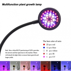 20W Adjustable Color LED Grow Light,  Desk Clip Grow Lamp with 360° Flexible Metal Arms &Three Separate Control Switcol Switches for indoor plants