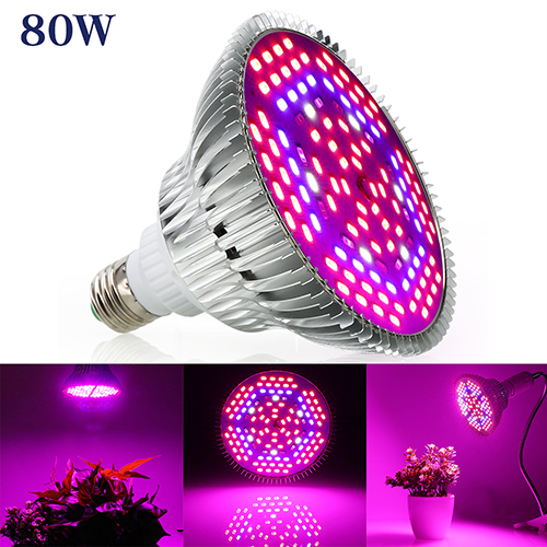 80W  Full Spectrum Led Grow Light for Indoor Plants Vegetables Greenhouse and Hydroponic,120PCs SMD5730Chips E27 Base grow light
