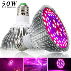 50W Full Spectrum Led Grow Light for Indoor Plants Vegetables Greenhouse and Hydroponic,78PCs SMD5730Chips E27 Base grow light