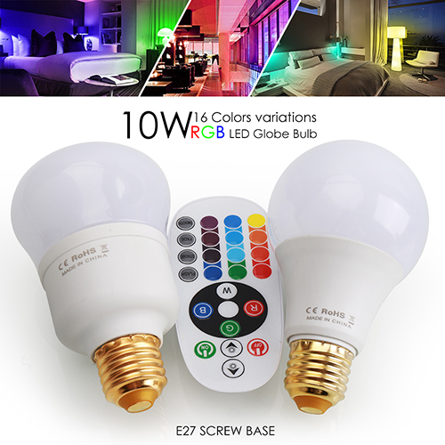 10W RGB LED Light Bulb With Timing Infrared Remote Control ,16Color Choices,Perfect for Birthday Party / KTV Decoration / Home Use / Bar
