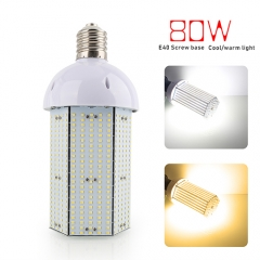 Super Bright 80W LED Corn Light Bulb, E40 Large Base for Indoor Outdoor, Street and Large Area Lighting