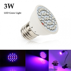 3W Led Grow Light for Indoor Plants Vegetables Greenhouse and Hydroponic,36PCs Chips E27 Base grow light