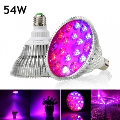 54W Full Spectrum Led Grow Light for Indoor Plants Vegetables Greenhouse and Hydroponic,18PCs Chips E27 Base grow light