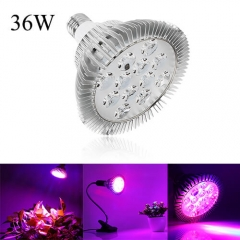 36W Full Spectrum Led Grow Light for Indoor Plants Vegetables Greenhouse and Hydroponic,12PCs Chips E27 Base grow light