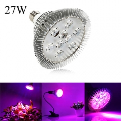 27W Full Spectrum Led Grow Light for Indoor Plants Vegetables Greenhouse and Hydroponic,9PCs Chips E27 Base grow light