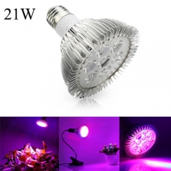 21W Full Spectrum Led Grow Light for Indoor Plants Vegetables Greenhouse and Hydroponic,7PCs Chips E27 Base grow light