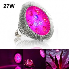 27W Led Grow Light  for Indoor Plants Vegetables Greenhouse and Hydroponic,9PCs Chips E27 Base grow light