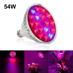 54W Led Grow Light for Indoor Plants Vegetables Greenhouse and Hydroponic,18PCs Chips E27 Base grow light