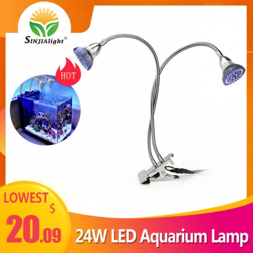 24W 84leds Dual Heads Clip LED Aquarium Lamp - SINJIAlight