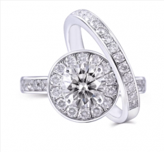 DOVEGGS PLATINUM PLATED SILVER 1CT MOISSANITE ENGAGEMENT RING SET