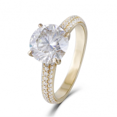 DOVEGGS 14K YELLOW GOLD 4CT MOISSANITE ENGAGEMENT RINGS