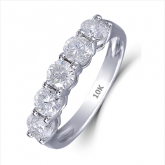 DOVEGGS 10K WHITE GOLD 0.3CT MOISSANITE ENGAGEMENT WEDDING BAND