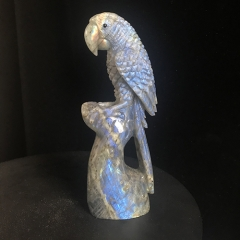 "Gorgeous 5.2"" Labradorite Carved Parrot Figurines Carving Sculpture"