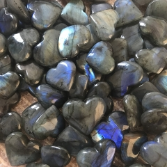 "Beautiful Natural Labradorite Stone Carving Heart ""Love"" with Good Flash"