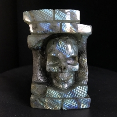 "3.2"" Labradorite Stone Carved Crystal Skull with Flash"