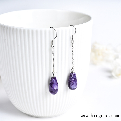 Natural Russia Charoite Gemstone 925 Sterling Silver Earrings