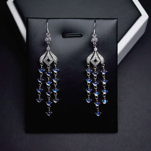 One Pair Sterling Silver Mosaic High Quality Sri Lanka Moonstone Earrings