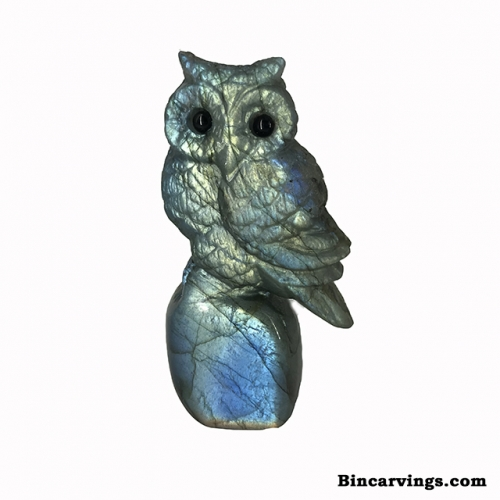 "Natural Labradorite Stone Carving Owl Sculpture 2.2"" Tall"