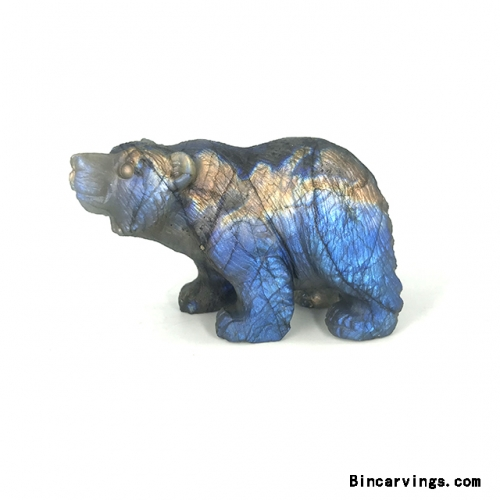 "2.5"" Super Natural Labradorite Stone Carved Bear Figurine Sculpture"