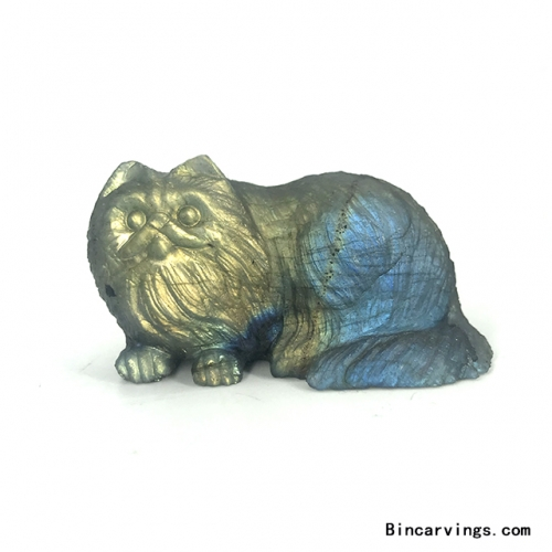 "2.4"" Natural Labradorite Stone Carved Cat Figurine Sculpture"