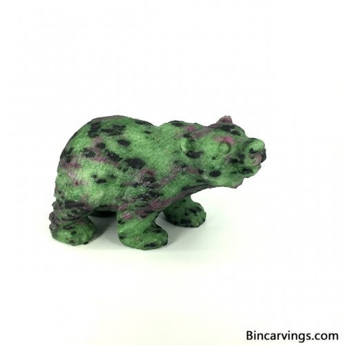 "2.4"" Natural Ruby in Zoisite Stone Carved Bear Figurine Bear Sculpture"