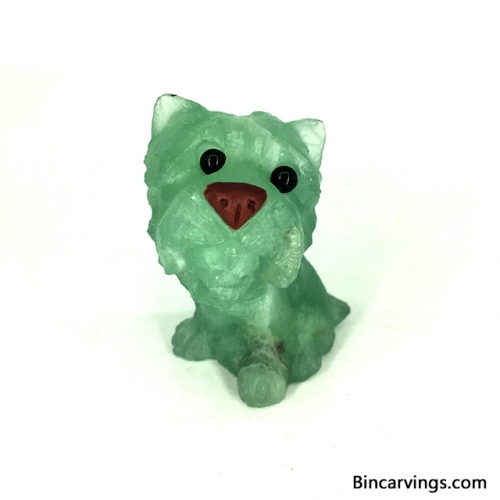 "2.1"" Green Fluorite Detailed Carving Yorkshire Terrier Dog Yorkie Puppy"