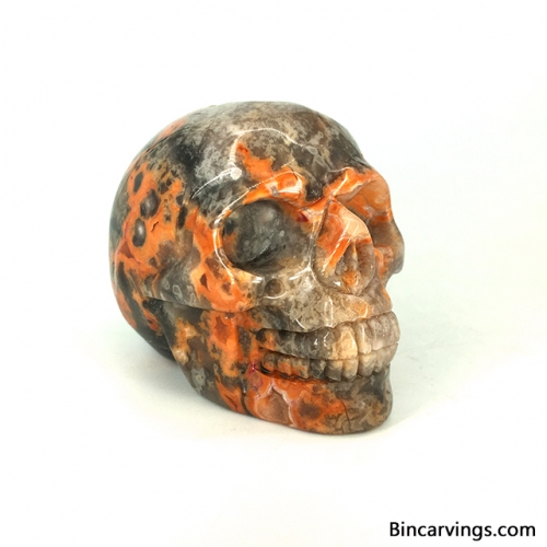 "2"" Natural Crazy Lace Agate Carved Crystal Skull Crystal Healing"