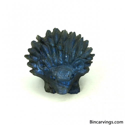 "1.55"" Natural Labradorite Stone Hand Carved Hedgehog Carving Sculpture Animal Figurine"