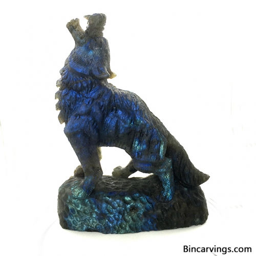 Amazing Hand Carved Labradorite Wolf Sculpture Collectable 5.5""