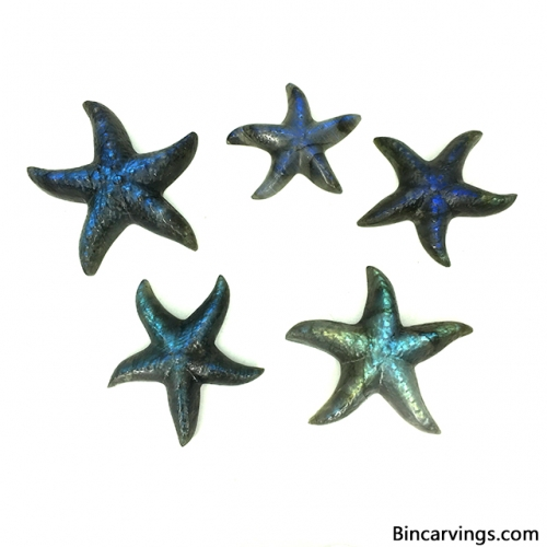 Super Labradorite stone Carving Starfish Figurines Starfish Collectable