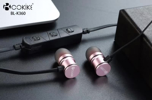 COKIKE BL-K360 earphone earbuds Exporter Metal Magnetic bass Short Wired Bluetooth Sport Small In-Ear Stereo for Cell phone and Tablet