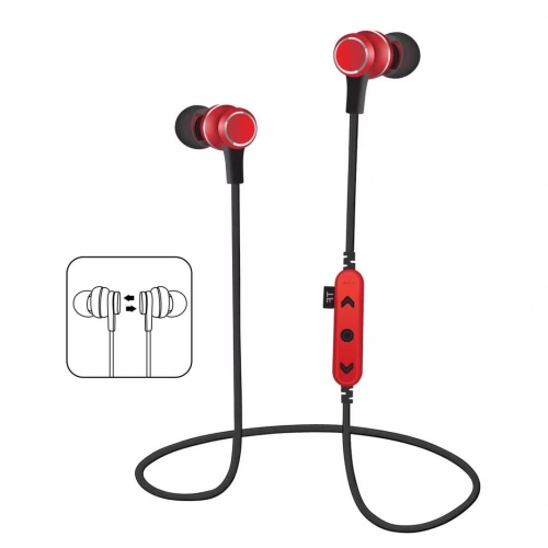 MS-T12 earphone earpiece Metal Magnetic With TF Card Short Wired Bluetooth Sport Small In-Ear Stereo for Mobile phone and Tablets