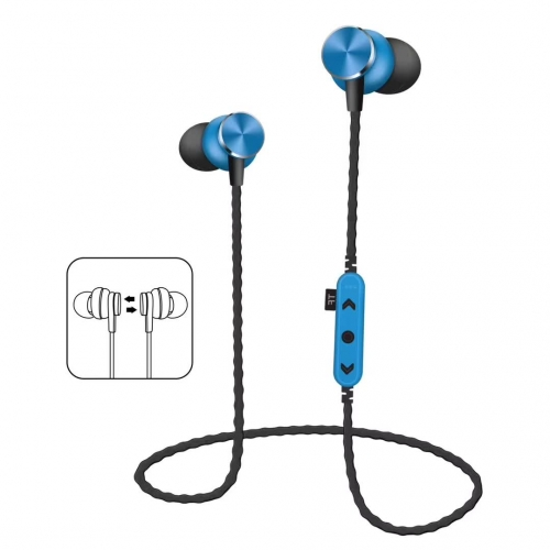 MS-T13 earphone Wholesaler earbud Short Wired Bluetooth Metal Magnetic With TF Card Sport Small In-Ear Stereo for Mobile phone and Tablets