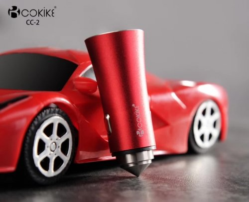 COKIKE CC-2 Smart Dual USB Car Charger Power Adapter With Charging Cable For Smartphone and Tablets